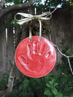 Red baby handprint ornament