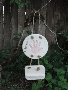 Little pink handprint with flowers and business card holder