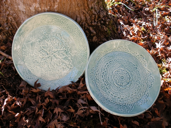 Jade plates with lace impressions