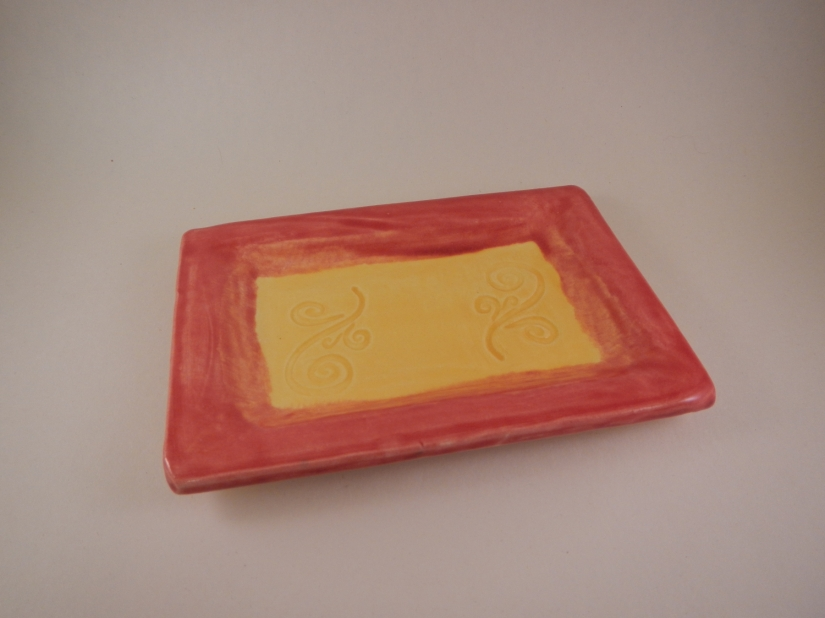 Red and Yellow Soap Dish