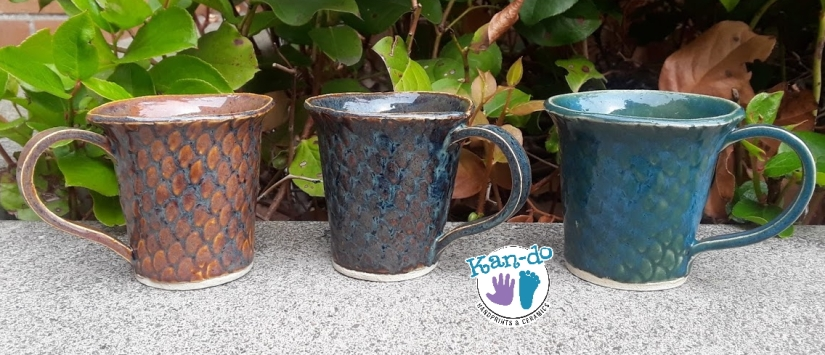 trio of dragon scale mugs